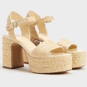 Bershka Raffia Wedge Woven Platform Sandals